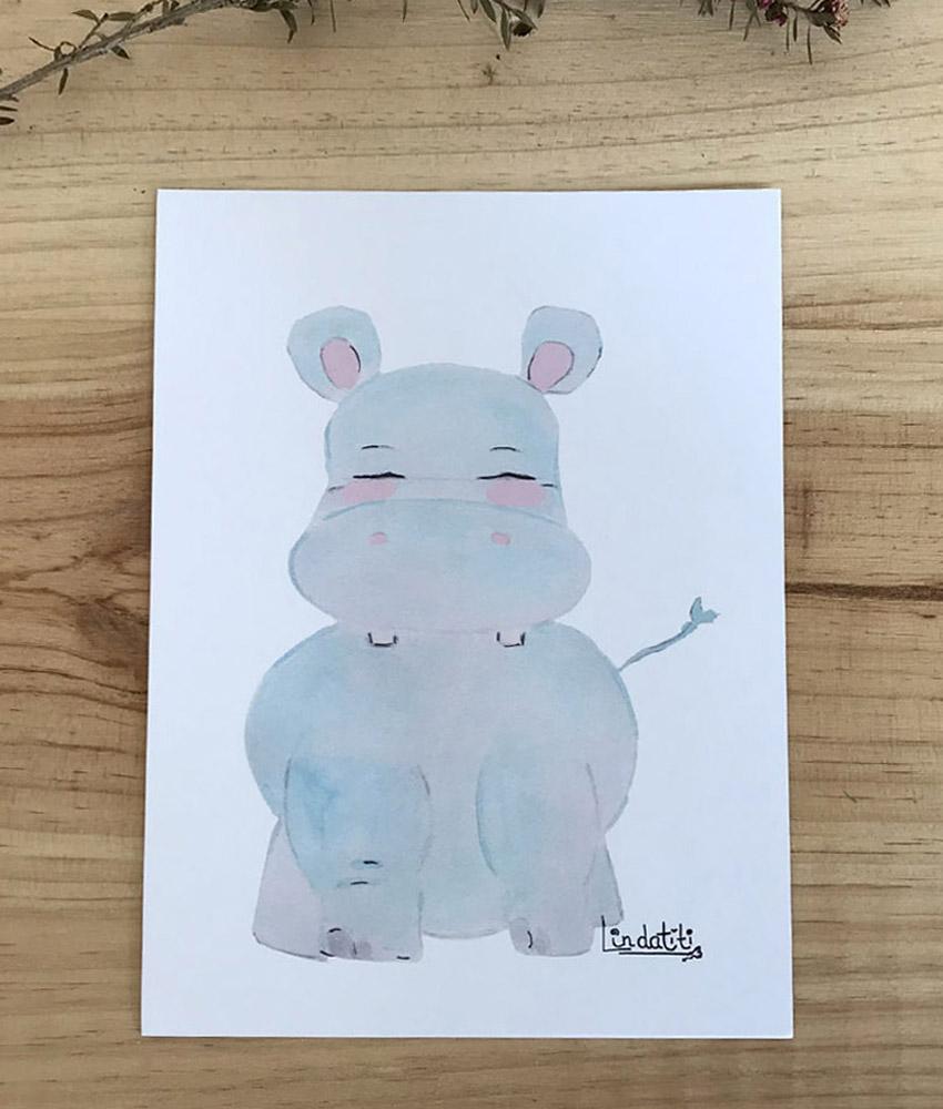 Lámina hipopotamo Toño
