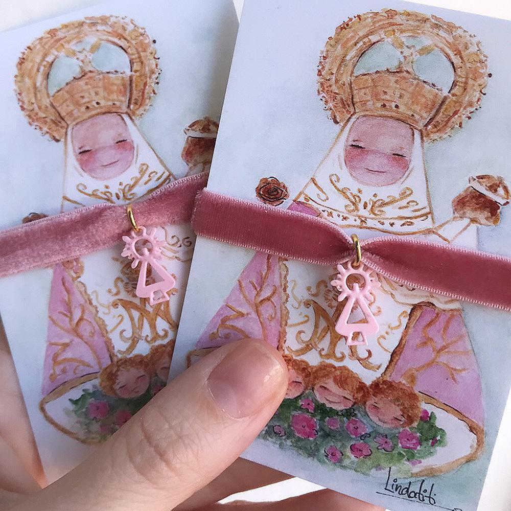 Pulsera Virgen de Covadonga colores y cinta terciopelo