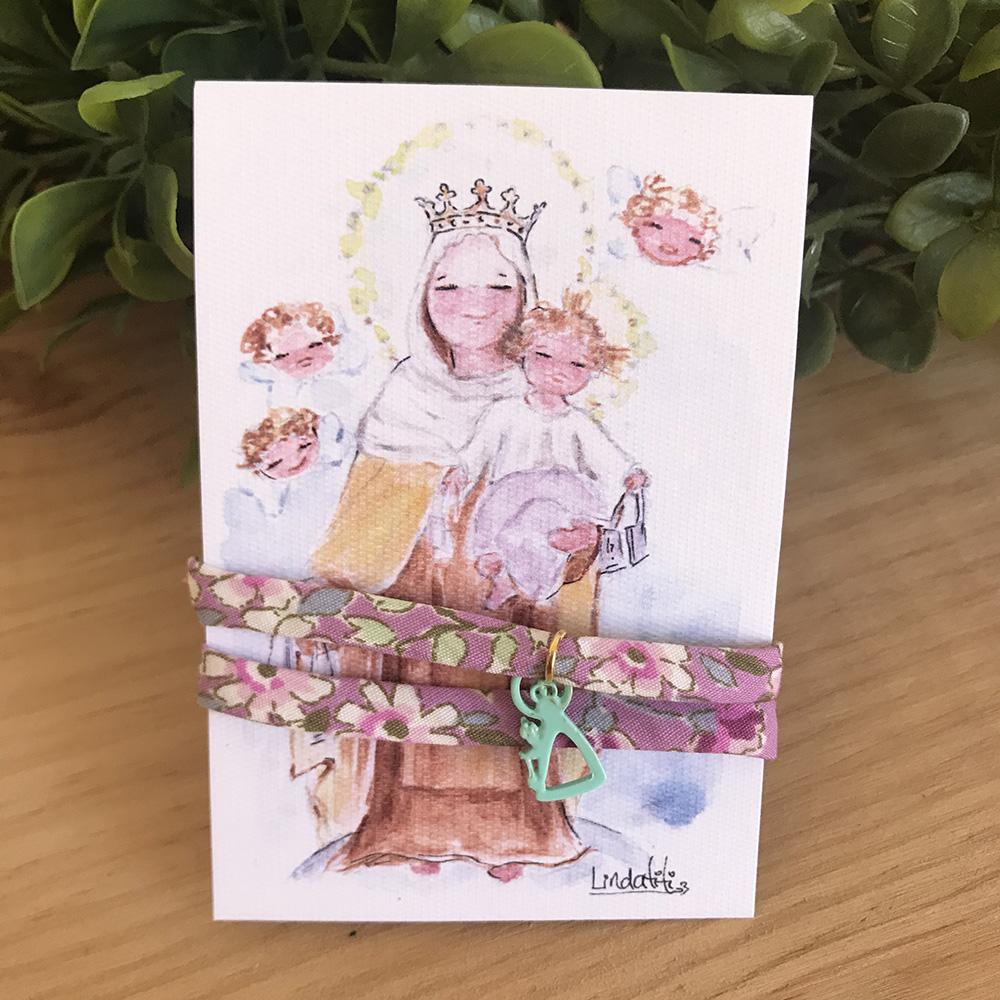 Pulsera Virgen del Carmen con cinta liberty
