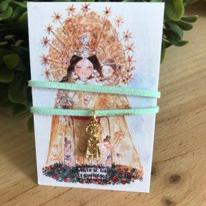 Pulsera Virgen de los Desamparados felpa verde agua
