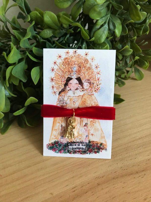 Pulsera Virgen de los Desamparados terciopelo rojo